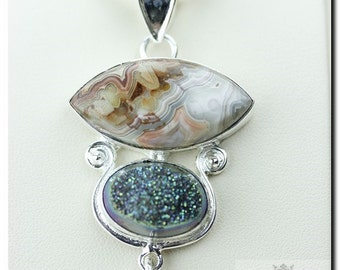 MEXICAN CRAZY Lace Agate Drusy DRUZY 925 Solid Sterling Silver Pendant + 4mm Snake Chain & Free Worldwide Shipping P1757