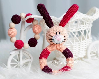 Baby rattle Crochet baby toy SET of 2 Teething baby toy Grasping Teething Toys Bunny Stuffed toys Gift for baby Girls Boys Baby shower gift