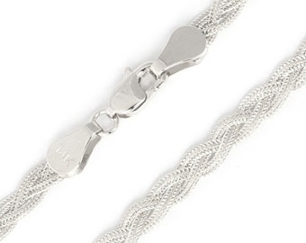 14kt White Gold Diamond Cut Braided Fox Anklet with Lobster Clasp