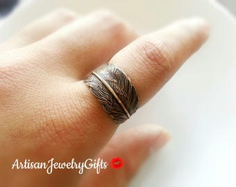 Antique Brass Feather Ring Bohemian Ring Adjustable Feather Wrap Ring Woodland Ring Antique Brass Feather Ring Feather Ring