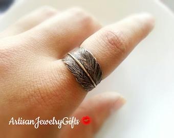 Messing antik Feder Ring böhmische Ring einstellbar Feder Wrap Ring Wald Ring Messing antik Feder Ring Feder Ring