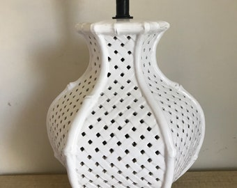 Vintage Midcentury White Reticulated Faux Bamboo Ceramic Table Lamp