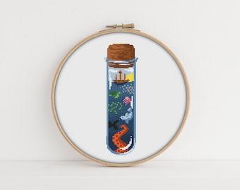 Ocean in a Bottle Cross stitch Pattern / PDF Pattern / Octopus cross stitch / Magic Embroidery Pattern / Magic Cross Stitch Pattern /