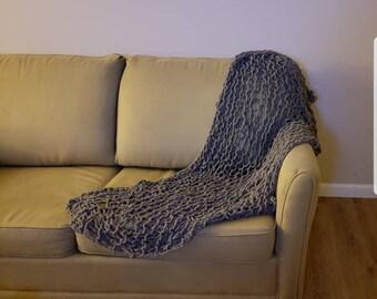 Loose knit handmade throw blanket