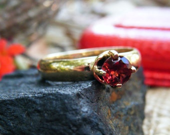 GARNET engagement ring, gold garnet ring, thick band engagement ring, gold engagement ring, alternative engagement ring, conflict free