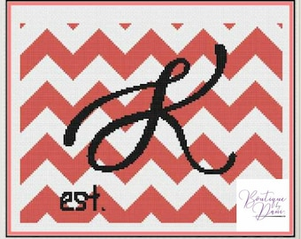 Monogram Chevron K Cross Stitch Pattern Personalized