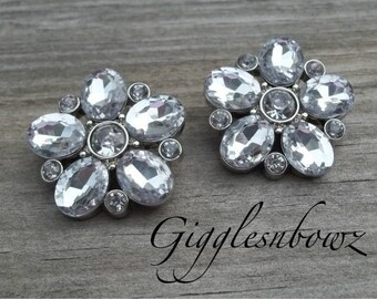 Brand New Set of TWO Starburst Acrylic Rhinestone Buttons- CLEAR