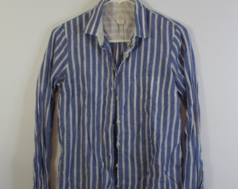 Blue and White Striped Boyfriend Button Up Tee