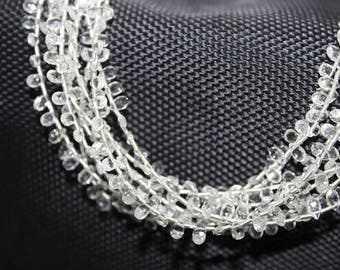Natural White Topaz  Pear Shape Briolette Beads / 3x5 mm / 8 inches /  Faceted Pear White Topaz