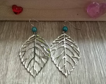 Leaf earrings and blue beads