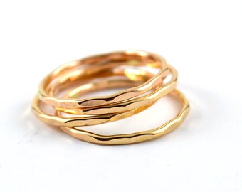 Gold filled stacking ring -  gold stacking rings - hammere gold ring - skinny stackable ring - gift for her - stacking rings set