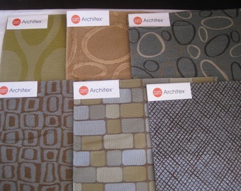 "Upholstery/Drapery fabric samples, 9""x9"", 6 pcs. for small patchwork projects, totes, wallets, pillows."