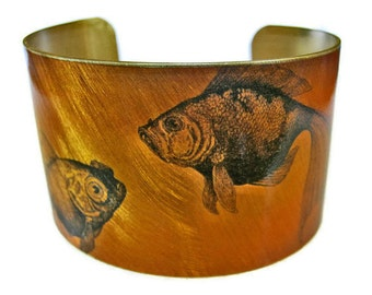 Goldfish cuff bracelet (As seen in Minnesota Monthly magazine) brass Gifts for her