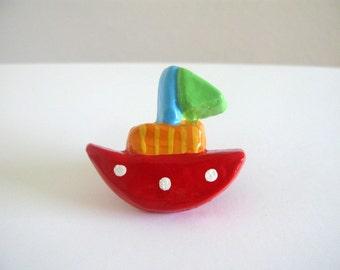 Red Boat Knob - Ceramic Drawer Knob - kids room decor