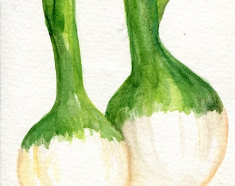 Spring Onions Original Watercolor Painting, Small Vegetable Painting, Kitchen Wall Art, 4 x 6, kitchen decor, Farmhouse style art