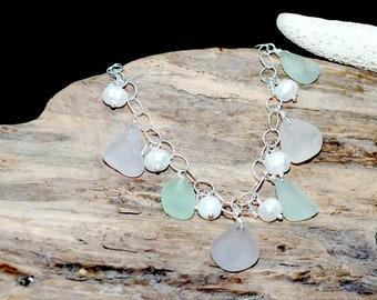 Sea Glass Bracelet, Spring Bracelet, Sterling Beach Bracelet, Lake Erie Beach Glass Jewelry, Mothers Day Gift, Beach Jewelry