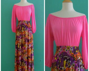 vintage 60's boho print maxi dress // pink peasant blouse dress // hippie dress