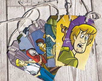 Scooby Doo Gift Tags Labels Upcycled Tags Book Page Handmade Recycled Birthday Wedding Baby Shower
