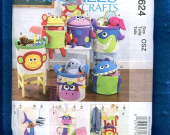 McCalls 6624 Modern Fun Goofy Storage Buckets for Toys & Laundry  UNCUT