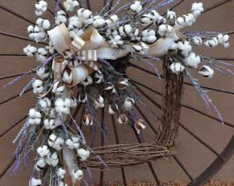 Cotton And Lavender Wreath, Farmhouse Wreath, Cotton Boll Wreath, Square  Wreaths For Front