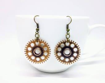 Steampunk Earrings Cog Gear Jewellery Silver Bronze Accessories