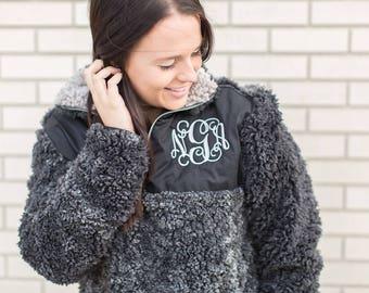 Monogram Sherpa Pullover Jacket, Monogram Sherpa Fleece Pullover, Monogram Fur Pullover, Sherpa Fleece Pullover