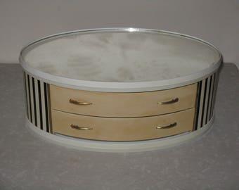 Mid Century Modern mirrored jewelry box storage drawers vinyl
