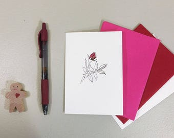 Rosebud note card with line art of a red rose. Blank notecard for anniversary, thank you notes, sweet messages. Choice of envelope color.