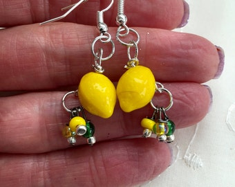 Lemon Yellow Green Lampwork Glass Dangle Earrings Doodaba