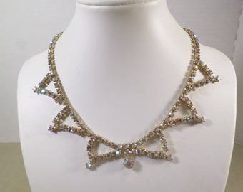 BRIDAL! Beautiful Vintage Gold Tone Prong Set Crystal Aurora Borealis Rhinestone Choker Necklace  DL# 5030