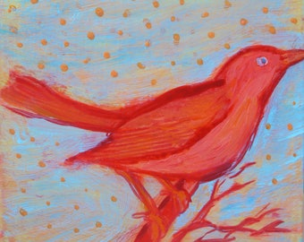 original small affordable art - Little Bird - one of a kind acrylic painting by Irene Stapleford - wantknot shop