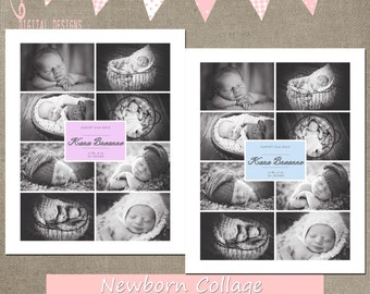 Newborn Collage Blog Board 16x20 8x10 storyboard collage template basic INSTANT DOWNLOAD photoshop elements or cs (easy color change)