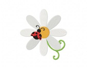 ladybug embroidery design, daisy embroidery design, ladybug flower embroidery
