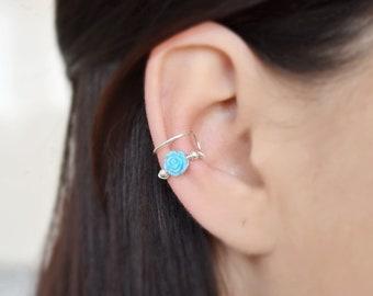 Blue Ear Cuff no piercing Rose Ear Cuffs Flower Earrings Cartilage Hoop Fake Piercing Oreille Rose Earrings Silver Ear cuff Earrings