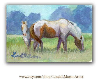 Pony Mare Foal Artwork  Acrylic LLMartin Original New Mom Baby Nursery Painting- Virginia Country