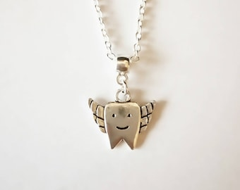 Children's Tooth Fairy Pendant Necklace. Silver Plated. 16 Or 18 Inch Chain.
