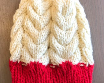 White Red Parker Cabled Knit Beanie, adult knit beanie, adult knit hat, child knit beanie, child knit hat, red and white hat, crochet beanie