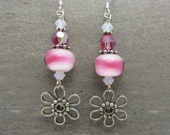 Lampwork Earrings Pink and White Earrings Glass Bead Earrings Dangle Drop Earrings With Silver Metal Daisy Flower Charm SRAJD USA Handmade