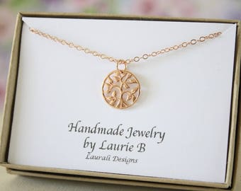 Tiny Tree of Life Necklace, Mother Gift, Rose Gold, Bestie Gift, Rose Gold Family Tree Charm, Thank you card, Pink Gold Charm