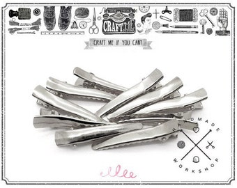 50pcs 45mm Silver tone metal hair alligator clip.