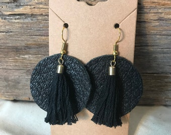 Black Upcycled Leather Earrings with Upcycled Black and gold Tassel
