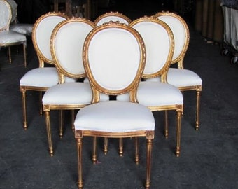 Six Gilded Gilt French Country Louis XVI Dining Chairs Rosette Crest