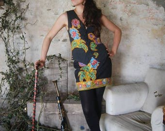 Woman's Dress Suit, Made from Recycled Materials with Embellished Flowers