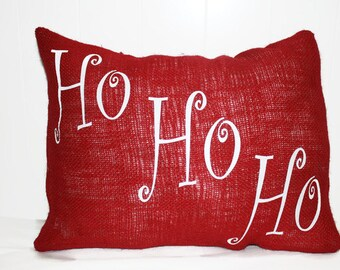 Decorative Burlap Ho Ho Ho Christmas Pillow Holiday Throw Pillow 12x16, 16x16 Pillow Cover