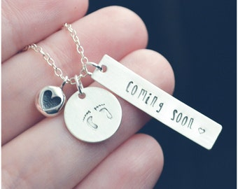Expecting Mom Jewelry, Coming Soon Stamped Necklace, Personalized Gift for Women, Sterling Silver Baby on Board Necklace, Baby Shower Gift