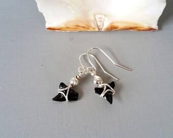 Shark tooth earrings silver wire wrapped earrings, beach fossil earring