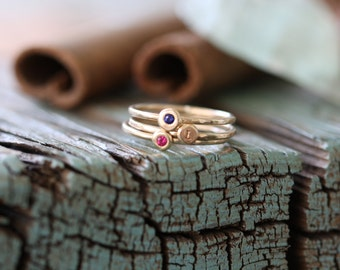 solid 14k gold & gem stone pebble and initial skinny stacking ring set...flush set gemstone stackable rings... gypsy set stones