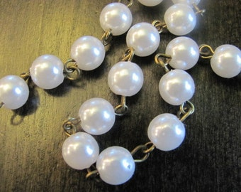 3 FEET - 8mm Rosary Chain - White Pearl - Antique Brass Wire Wrapped Chain