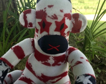 Red, White, and Blue Star-Eyed Sock Monkey
