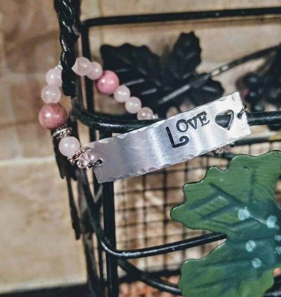 Love - Stamped Metal Mantra Bracelet with Healing Gemstones